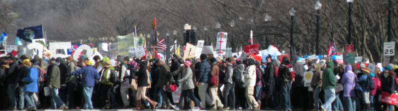 Protesters on their way to White House
