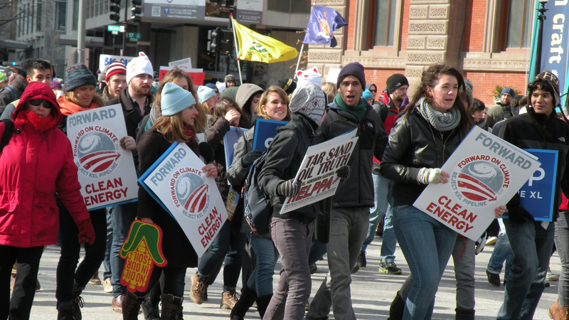 Marching climate protest
