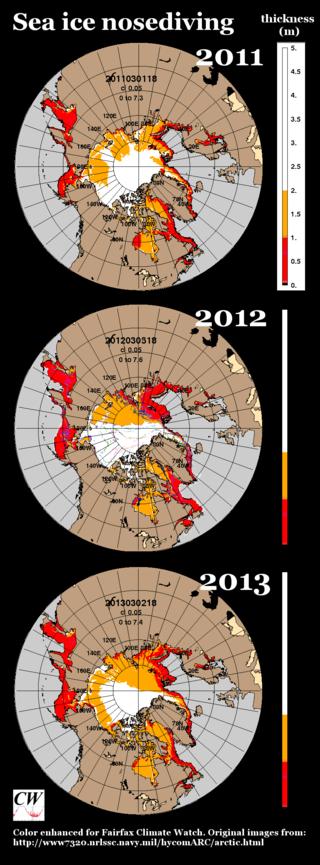 2011 vs 2012 vs 2013 Arctic Sea Ice thickness alt view